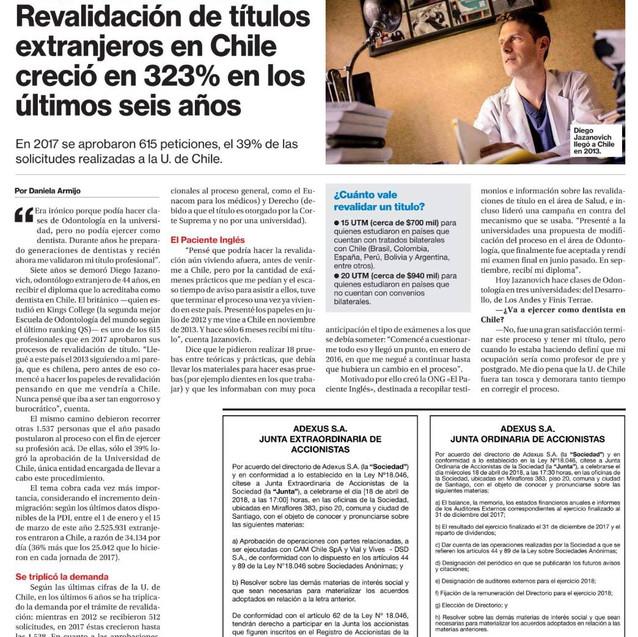Diario La Segunda - Abril 2018