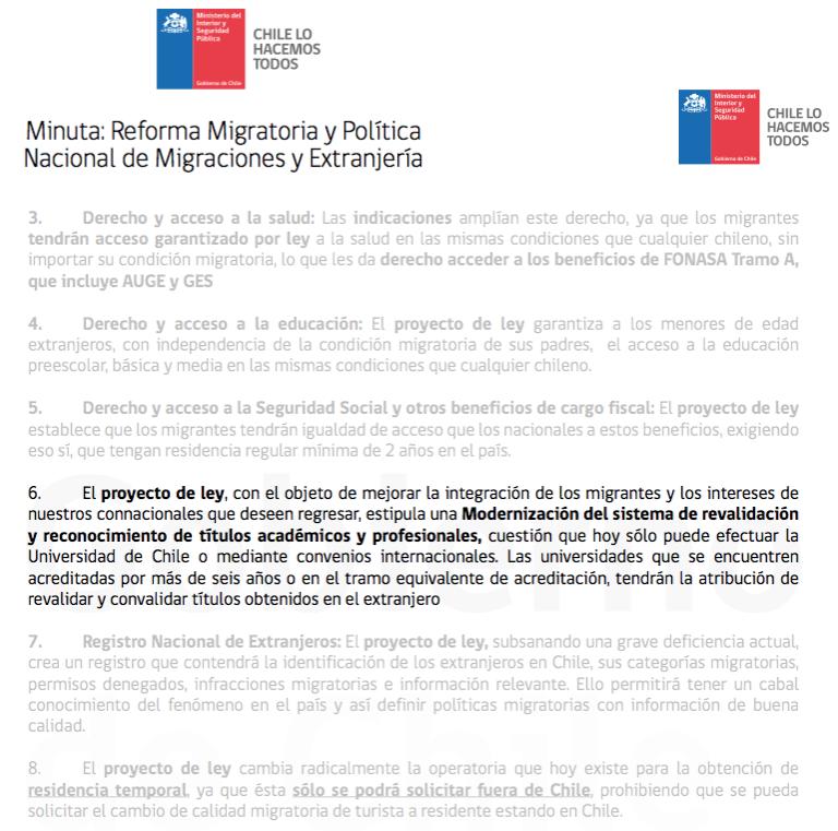 nueva ley migración Chile revalidación reconocimiento título estudio extranjero gobierno proyecto reforma política fundación el paciente inglés convalidar homologar revalidar