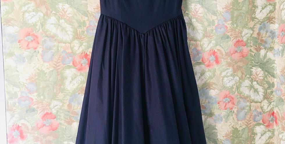 Vintage 80's Laura Ashley Navy Dress