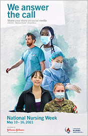"""NATIONAL NURSES WEEK! """"Nurses: A Voice to Lead."""", """"We answer the call"""" poster"""