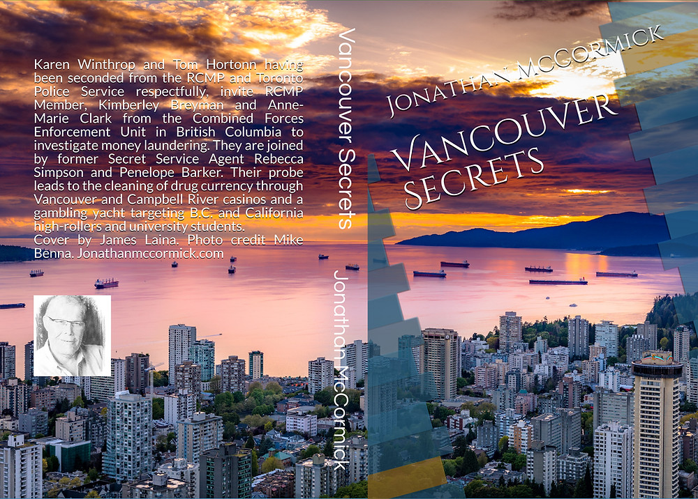 """Jonathan McCormick book """"Vancouver Secrets"""", the city of Vancouver in the background"""