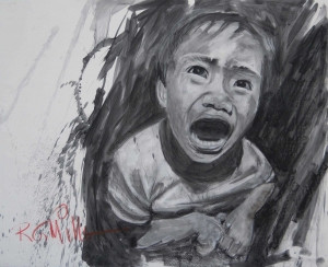 A drawing of a child shouting