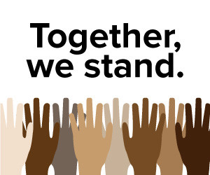 Together we stand, hand poster