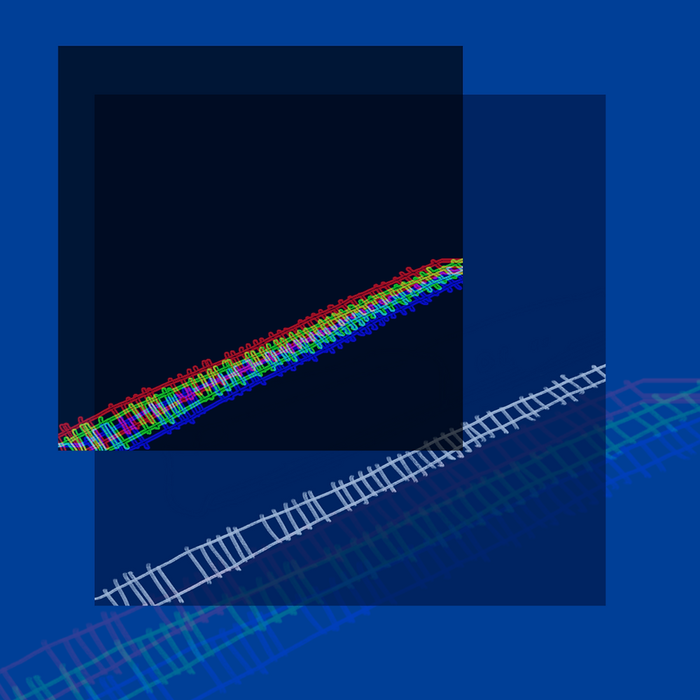 Three overlayed blue squares with a single train track running from the right hand side to the bottom left corner. The uppermost image is glitchy with primary colour hues.