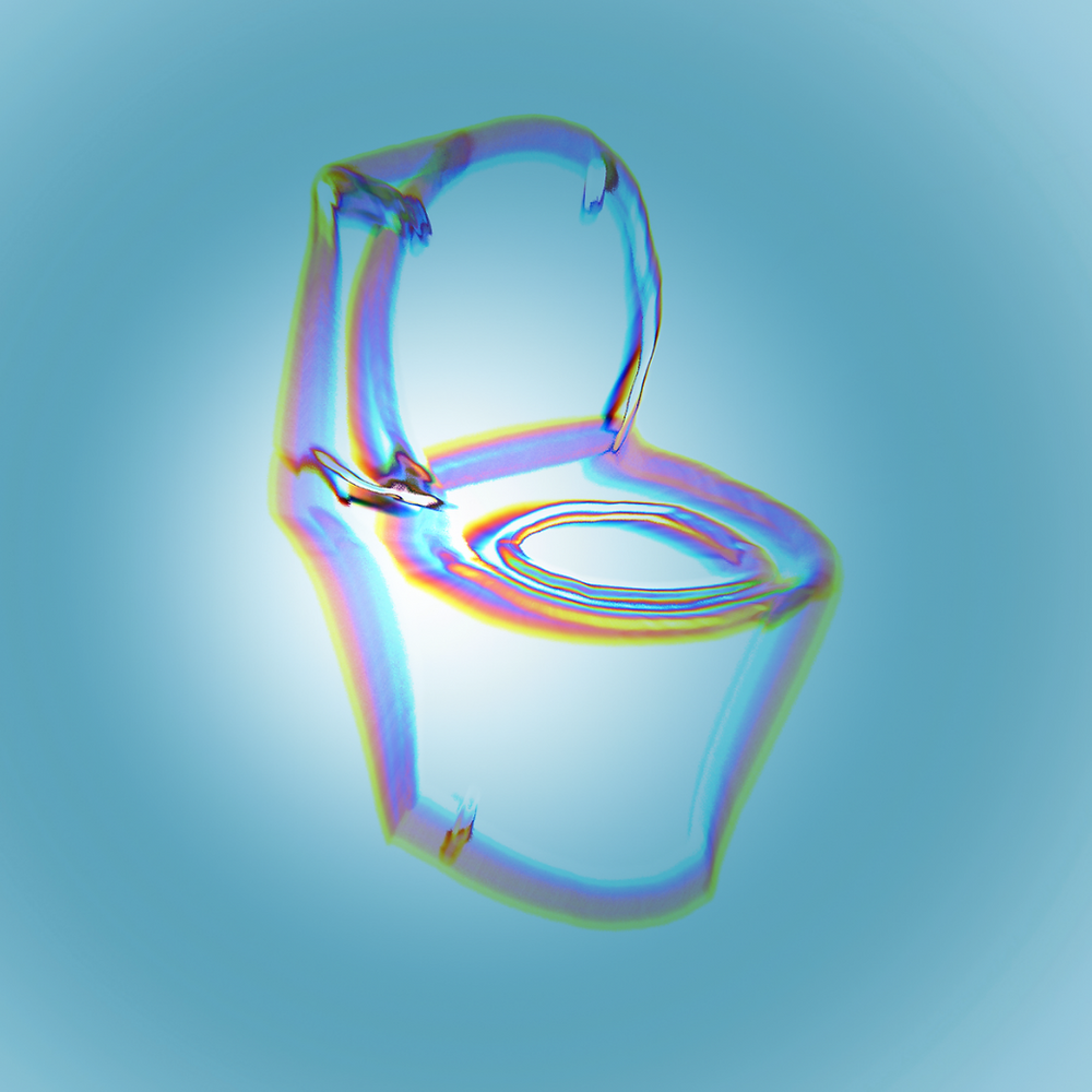 A glitchy, rainbow outline of a toilet on a faded light blue background.