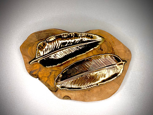 Gold Feather Plate