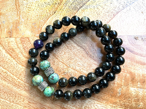 African Turquoise + Obsidian