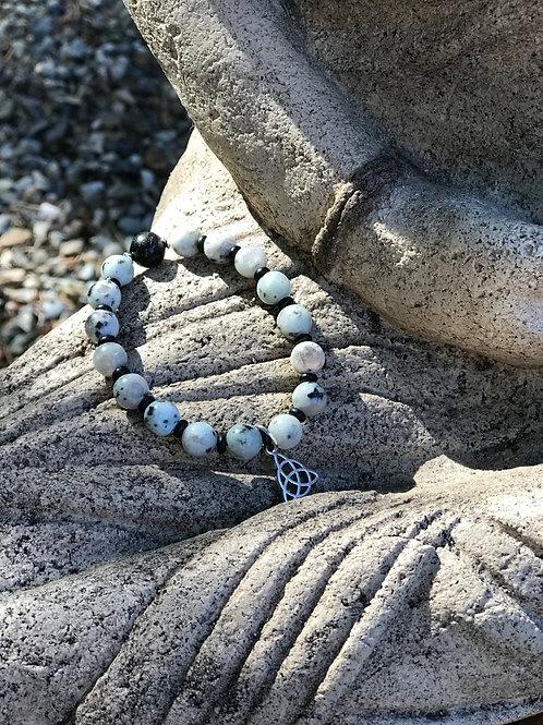Dalmatian Jasper + Obsidian + Lava Mala Wrist