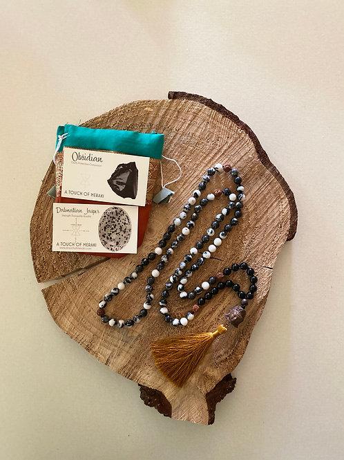 Dalmatian Jasper + Obsidian + Rudraksha Seed  Mala