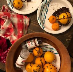 Pomanders (oranges with cloves)