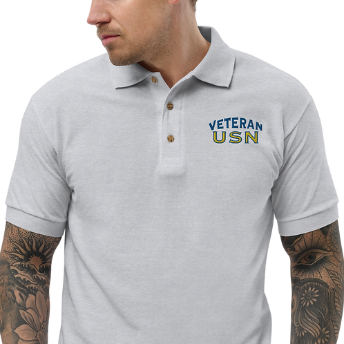 Veteran USN Embroidered Polo Shirt
