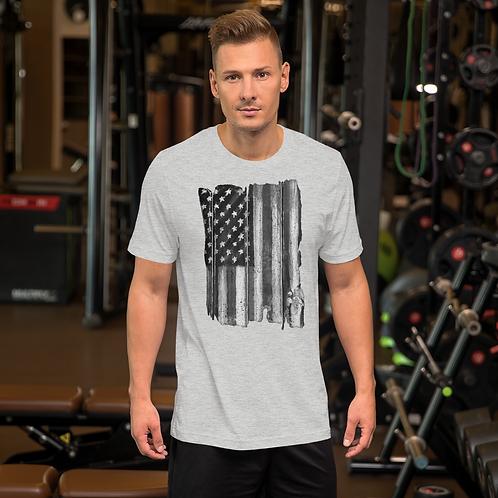 Vertical B&W Flag Short-Sleeve Unisex T-Shirt