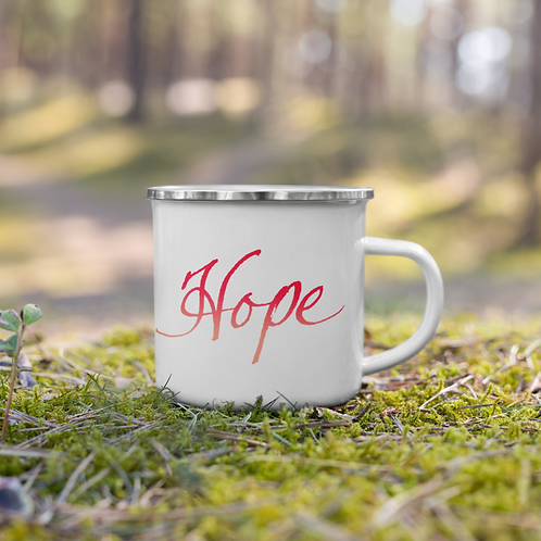 "Handwritten ""Hope"" in soft and gradient colors Enamel Mug"