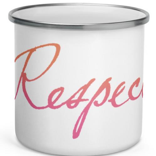"Handwritten ""Respect"" in soft and gradient colors Enamel Mug"