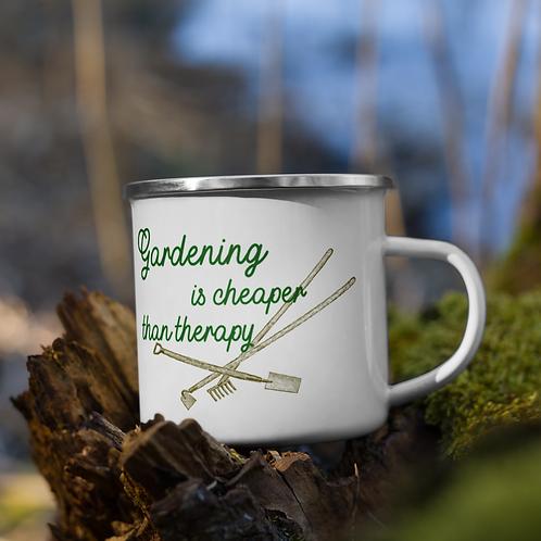 Gardening is cheaper than therapy Enamel Mug
