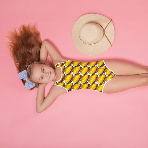 Sloop the Sleepy Clam All-Over Print Kids Swimsuit
