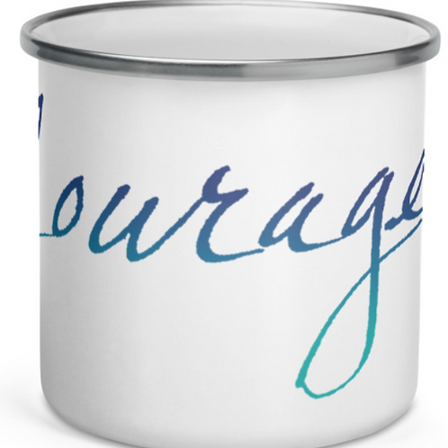 """Handwritten """"Courage"""" in soft and gradient colors Enamel Mug"""