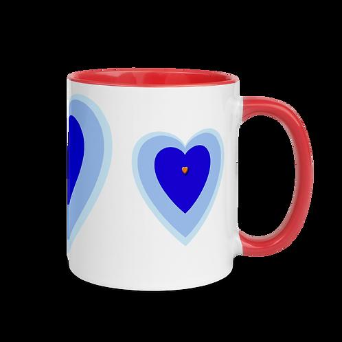 Blue Heart Mug with Color Inside