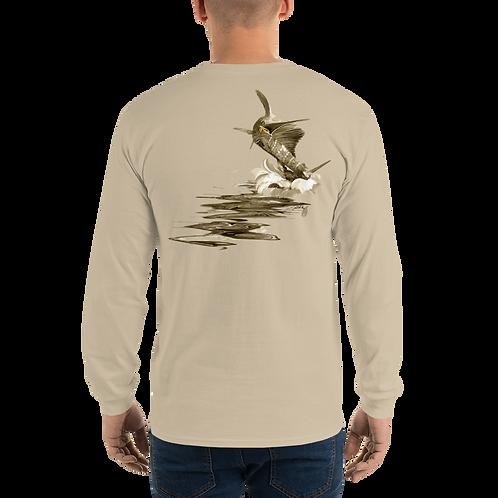 Sepia Jumping Sailfish (Reel Gear logo front chest) Men's Long Sleeve Shirt