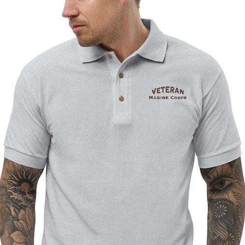 Veteran Marine Corps Embroidered Polo Shirt