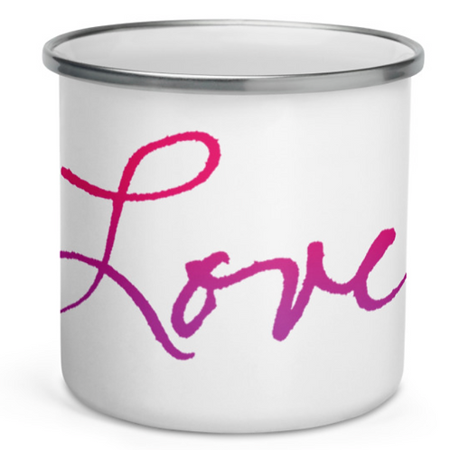 "Handwritten ""Love"" in soft gradient colors Enamel Mug"