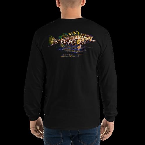 Black Grouper (Reel Gear logo front chest) Men's Long Sleeve Shirt