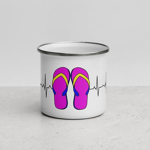 Flip Flop Heartbeat Enamel Mug