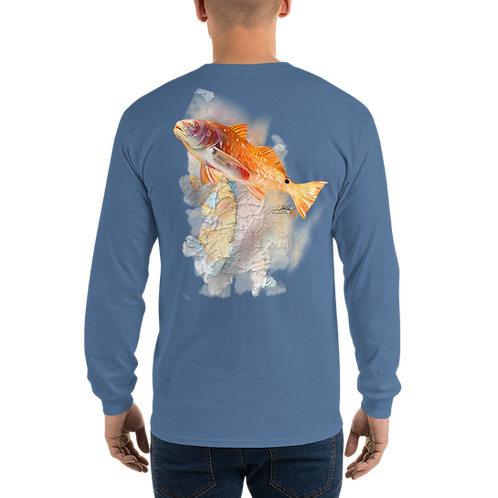 Red Fish on Florida map (Reel Gear logo front chest) Men's Long Sleeve Shirt