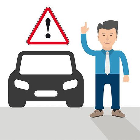 Cartoon Businessman Hint Car Warning Tri