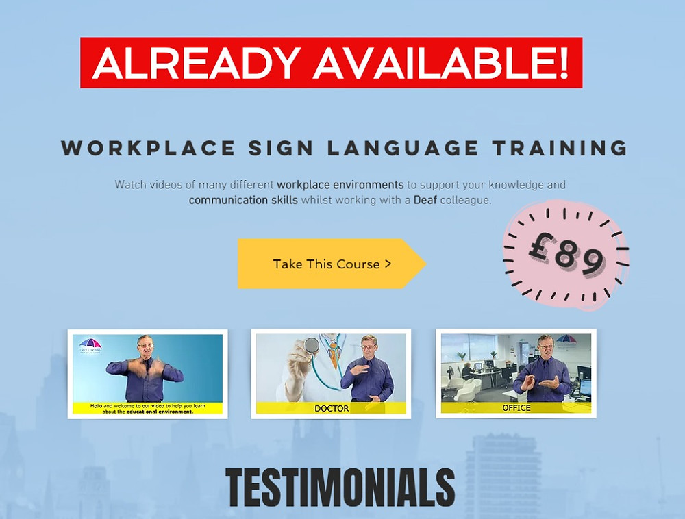 Workplace Sign Language Course Deaf Umbrella BSL