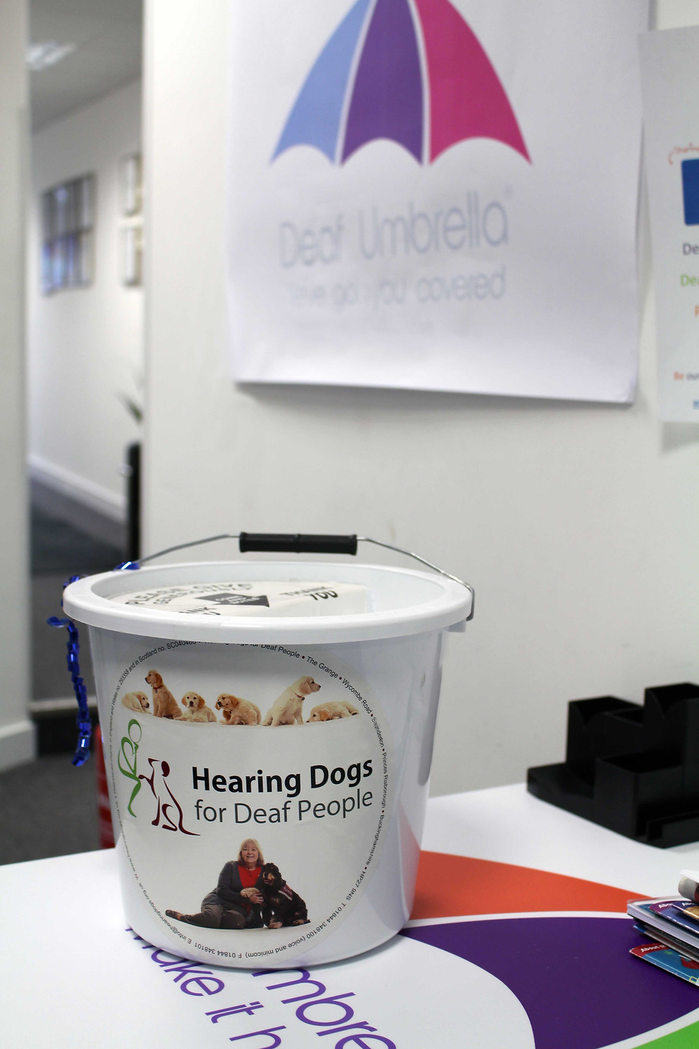 Bucket in Deaf Umbrella office to collect money