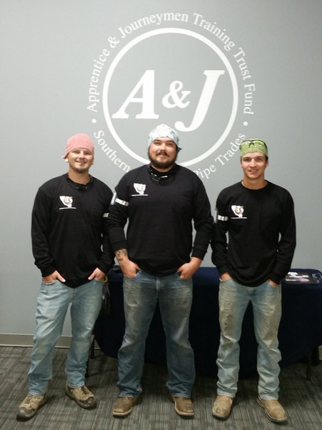 Members Bryce Sharp, Matt Legaspi, and Cooper Aramas at the Apprenticeship Contest