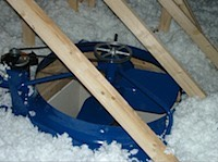 Fan inside the attic