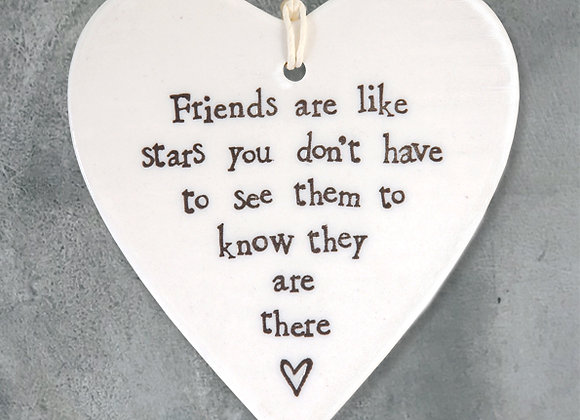 Porcelain Round Heart - Friends are like stars