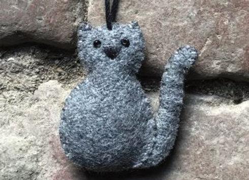 Felt Hanging Cat- Grey