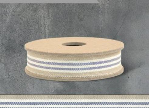 3 Stripe blue/beige/cream Ribbon