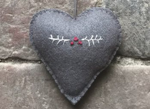 Embroidered Heart- Grey