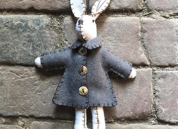 Felt White Rabbit in Jacket- EMILY