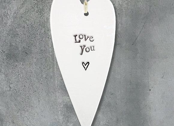 Porcelain Long Heart- Love You