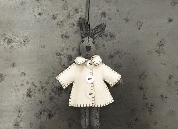 Felt Grey Rabbit in Jacket- THOMAS