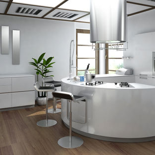 White Gloss kitchen in Solid Surface & Laminate