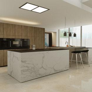 Sintered Stone & Woodgrain Laminate Kitchen