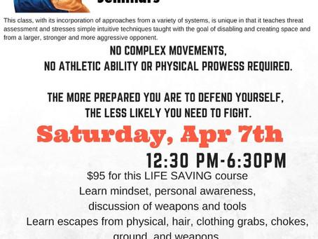 Women's Self Defense class 4/7
