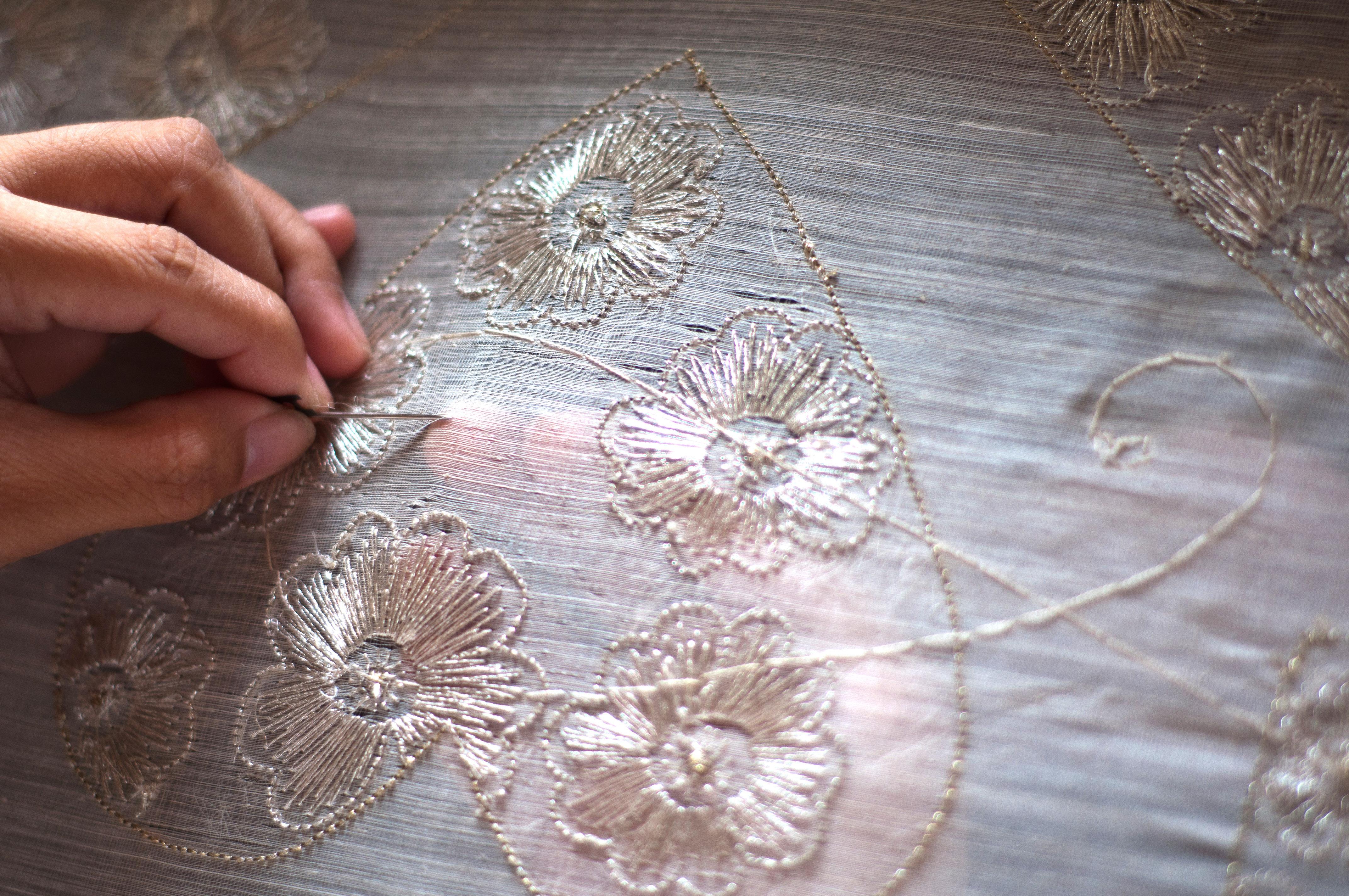 Embroidery on Piña