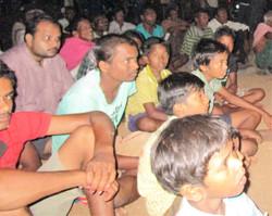 Crowds watch Sambalpuri JESUS Film.