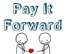 Pay It Forward logo, with one person giving a love heart to another to make their day special.