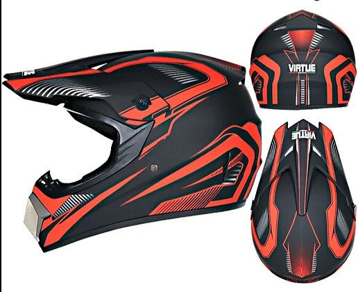 Casque Virtue type cross rouge