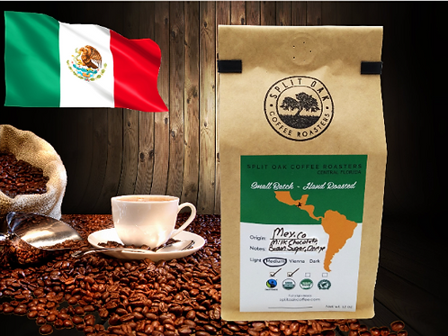 Organic Mexican Coffee Hand Roasted 12 Oz, Whole Beans