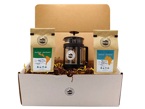 Coffee Gift Box Set 2 assorted coffees +1 French Press Coffee an amazing gift