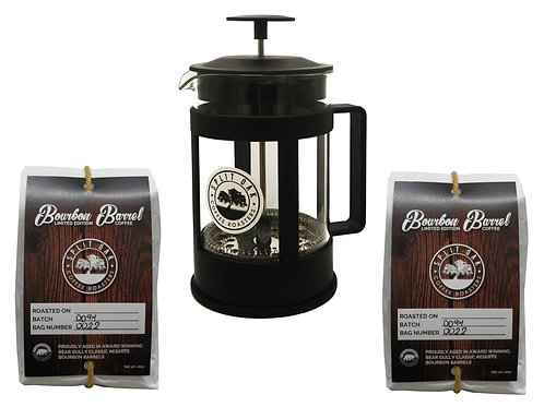 Coffee Gift Box Set -2 Organic Bourbon Barrel Coffee + French Press